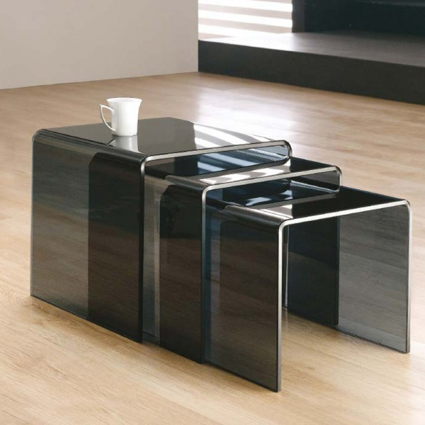 Black Nest of 3 Glass Side Tables (10mm)