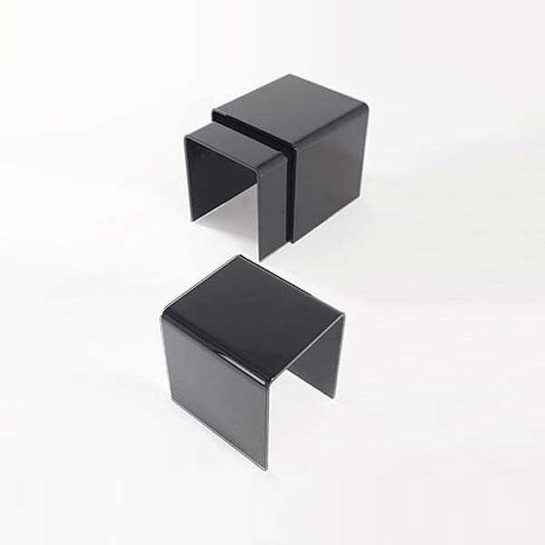 Black Glass Nest of Three Side Tables (12mm)