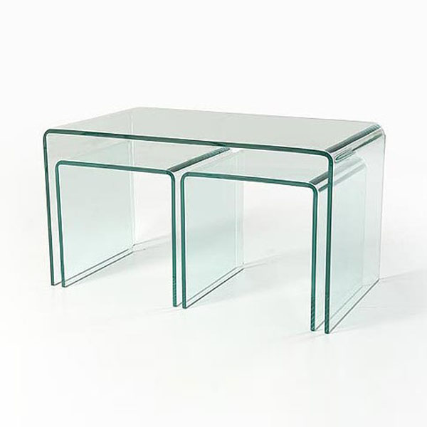 Clear Glass Nesting Coffee Tables (CT040)