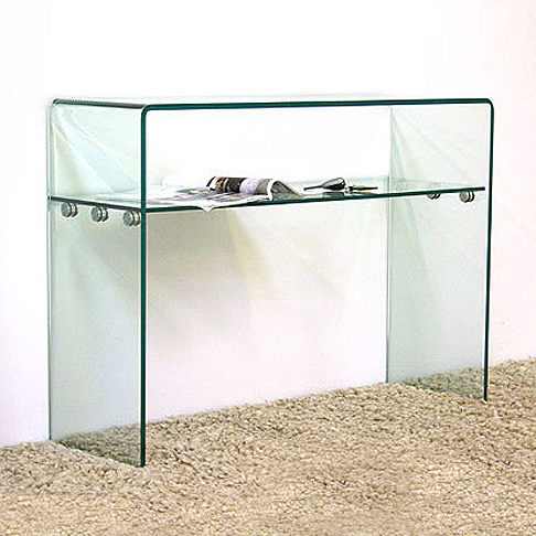 Large Curved Shelf Glass Console Table (W:100cm x D:33cm x H:75cm)