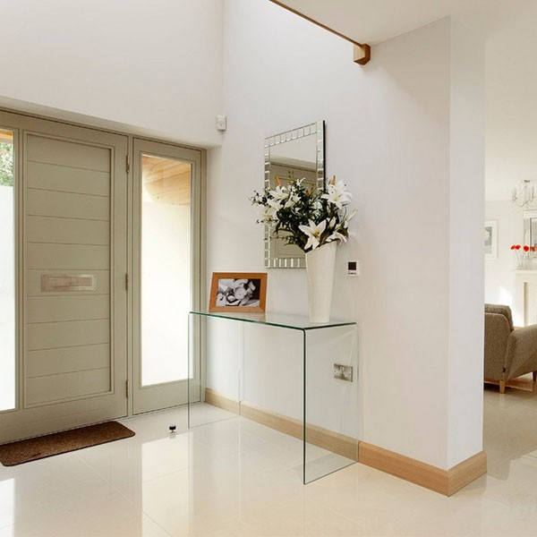 Large Curved Glass Console Table (W:100cm x D:33cm x H:76cm)
