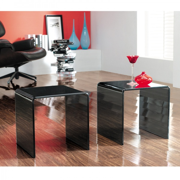 Pair of Black Glass Side Tables