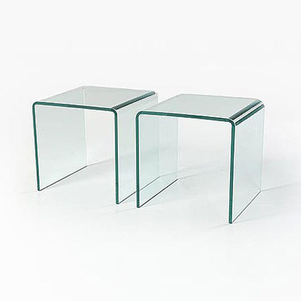 Small Pair of Glass Side Tables Set of 2 (12mm)